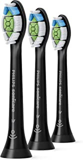 Philips Sonicare W2 DiamondClean Optimal White Standard Sonic Replacement Electric Toothbrush Heads (3-pack), Black, HX606...