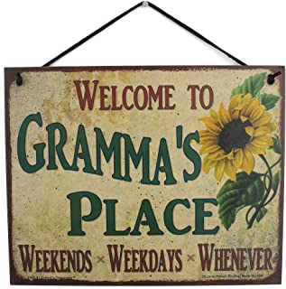 Egbert's Treasures Sign with Sunflower Saying Welcome To Gramma's Place WEEKENDS, WEEKDAYS, WHENEVER Decorative Fun Universal Household Signs from