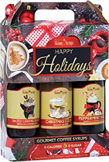 Jordan's Skinny Syrups Happy Holidays Gourmet Coffee Syrup Trio: Peppermint Bark, Christmas Cookie, Salted Caramel Mocha (One bottle of each flavor, 12.7 Oz Each)