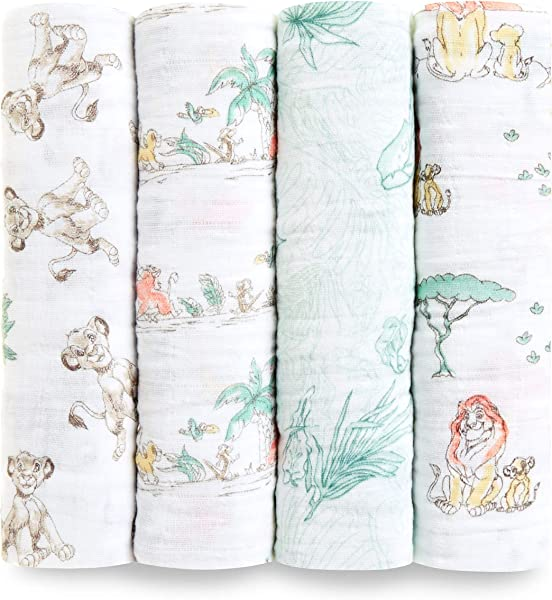 Aden Anais Disney Swaddle Blanket Boutique Muslin Blankets For Girls Boys Baby Receiving Swaddles Ideal Newborn Infant Swaddling Set Perfect Shower Gifts 4 Pack Lion King