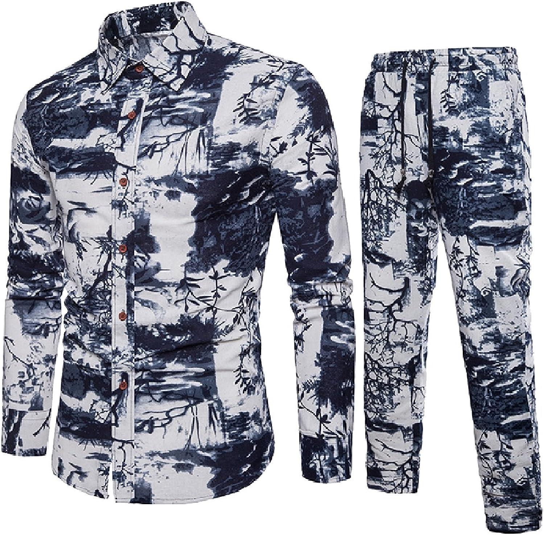 Sebaby Men 2-Piece Plus-Size Shirt Linen Fashion Sport Sweat Suit Set