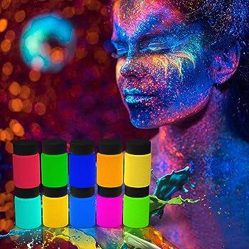 10 Colores x 20g Pintura Fluorescente Corporal y Facial Pintura Neón Fluorescente Maquillaje Fluorescente Brilla Oscuridad UV Bodypaint -3 Cepillos, 1 Paleta