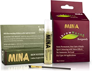 MINA ibrow Henna Burgundy Professional Tint Kit With Nourishing Oil & Brush Combo Pack | No Ammonia | Vegan & Cruelty free...