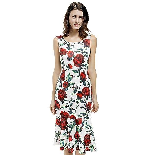 8e8a1e9ff9e8 Blooming Jelly Women s Vintage Retro Sleeveless Rose Print Fishtail Party  Midi Dress