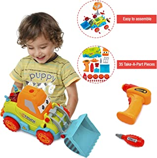Take Apart Toy Truck STEM Learning Toys for Kids 3 and Up, Play Bulldozer with 35 Take a Part Pieces, Music, Lights and Battery Powered Drill, Build Your Own Construction Toy for Boys and Girls