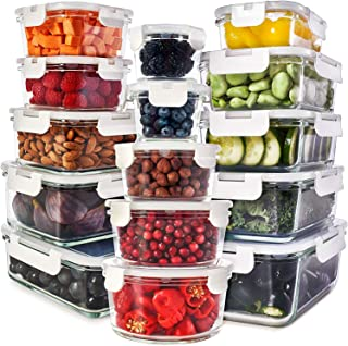 Glass Food Storage Containers with Lids - Glass Meal Prep Containers Glass Containers For Food Storage with Lids 30 Pcs. Glass Storage Containers with Lids Glass Food Containers Glass Lunch Containers