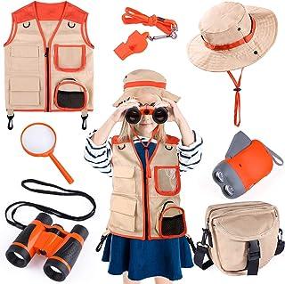 Kids Explorer Kit, 7 Pcs Outdoor Exploration Kit with Binoculars, Costume Vest, Safari Hat, Bag, Hand-Crank Flashlight, Ma...