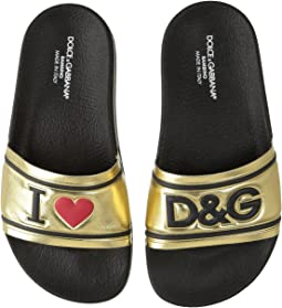 Dolce & Gabbana Kids - Gold Slide (Little Kid/Big Kid)