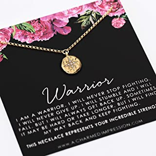 Warrior Necklace • Survivor Gift for Women • 14k Gold • Diamond CZ Pendant • You are Strong • Support Encouragement Empowerment Jewelry • Inspirational Gifts
