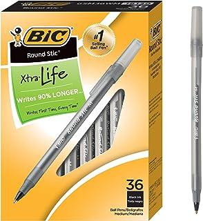 توپ BIC Round Stic Xtra Life، نقطه متوسط (1.0mm)، سیاه، 36-Count
