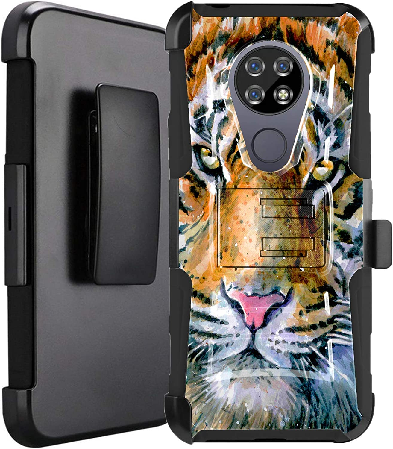 DALUX Hybrid Kickstand Holster Phone Case Compatible with Cricket Ovation/AT&T Radiant Max 4G LTE (2020) - Dominant Tiger
