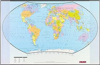 Herlitz 5552203 bureauonderlegger wereldkaart 70 x 45 cm