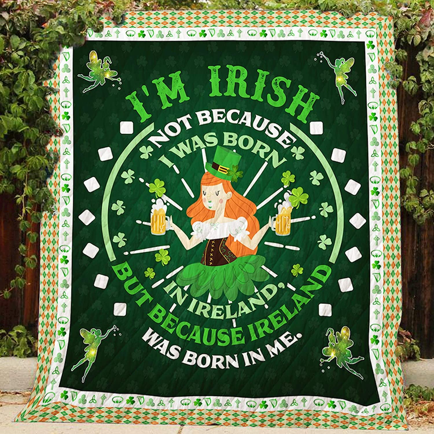 Ireland was Born in Me Quilt P308, Queen All-Season Quilts Comforters with Reversible Cotton King Queen Twin Size - Best Decorative Quilts-Unique Quilted for Gifts