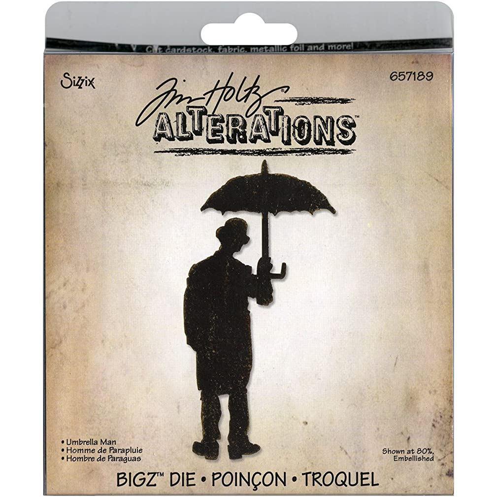 Sizzix 657189 Bigz Die Umbrella Man by Tim Holtz, Black
