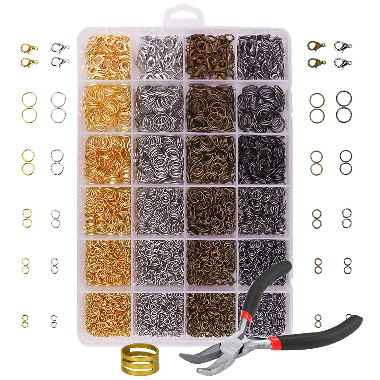 OPount?3142 Pieces Jewelry Making Kit with Open Jump Rings, Lobster Clasps, Open Ring, Bent Chain Plier