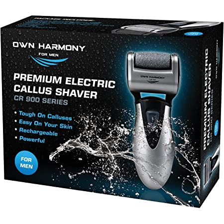 Electric Foot Callus Remover: Rechargeable Pedicure Tools for Men by Own Harmony - 3 Rollers Professional Spa Electronic Micro Pedi Feet File Care Best for Hard Cracked Skin and Powerful Exfoliation