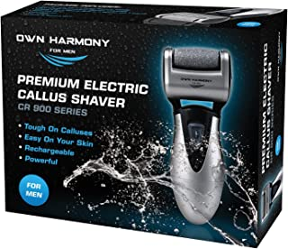 Callus Remover: Electric Rechargeable Pedicure Tools for Men by Own Harmony -3 Rollers (18 Mo Warranty) Best Foot File, Professional Spa Electronic Micro Pedi Feet Care Perfect for Hard Cracked Skin