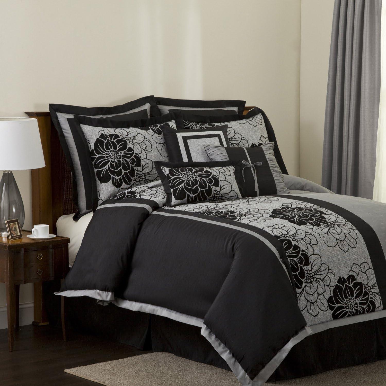 Lush Ranking TOP6 Decor Pasadena 8-Piece Comforter King Gray Set Max 50% OFF Black