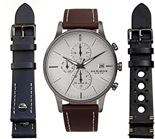Akribos XXIV Men's Multifunction Dual Time Zone Watch Set - 3 Interchangeable Leather Straps, with Capsi Pins for Easy Swap - AK1105