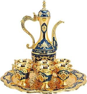 Service à thé turc, ensemble de théière en métal avec 6 tasses à café et plateau à thé, cadeau de mariage d'artisanat d'ar...