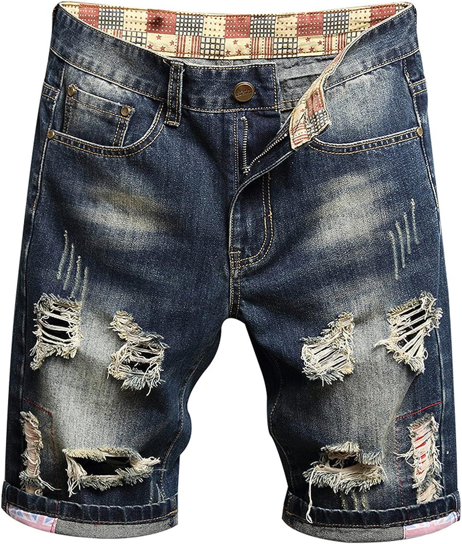 Men's Patch Denim Shorts Distressed Ripped Jeans Short Retro Mid Waist Fashion Summer Fashion Casual Jean Short Pants
