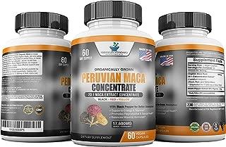 Maca Organic Peruvian Capsules - 17,600 mg Per Capsules - Black, Red, Yellow Maca, Energy & Stamina for Men & Women, 60 Capsules