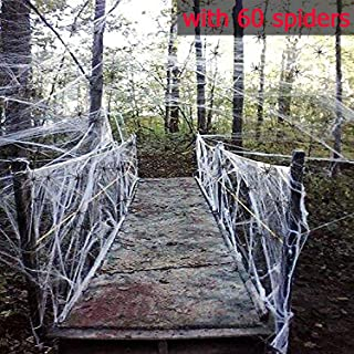 Fake Spider Web Halloween Party Decorations Props 1000 sqft with 60 Spiders