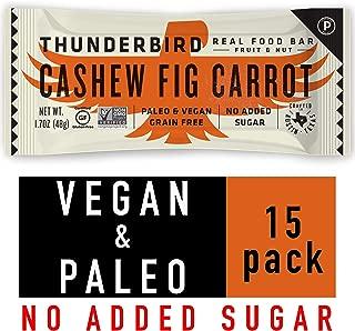 Thunderbird Paleo and Vegan Snacks - Real Food Energy Bars - Cashew Fig Carrot - Box of 15 - No Added Sugar, Grain and Gluten Free, Non-GMO