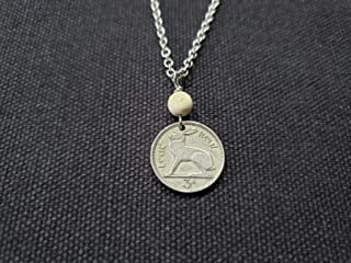 CoinageArt Irish Coin Necklace Ireland 3 Pence Necklace from Ireland dated 1953 with Ulster White Stone on Brilliant Adjustable Chain -Rabbit Coin Necklace -Rabbit Necklace 745