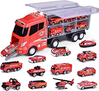 """FUN LITTLE TOYS 12 in 1 Die-cast Fire Truck Toys, 16"""" Transport Fire Truck Carrier with Fire Engine Cars, Firetruck for Bo..."""