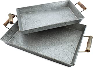 AuldHome Galvanized Farmhouse Trays (Set of 2); Farmhouse Decor Rectangular Trays with Handles