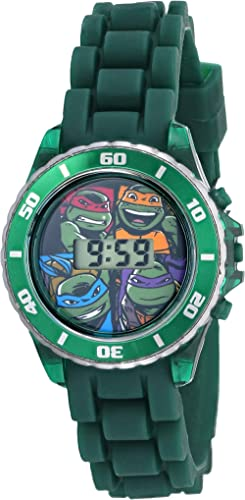 Ninja Turtles Kids' Digital Watch with Matallic Green Bezel, Flashing LED Lights, Green Strap - Kids Digital Watch wi...