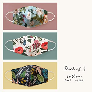 The Ink Bucket Pack of 3 Mask | 100% Cotton | Washable & Reusable | Botanical printed designs | 9 cm x 4.75 cm (3)