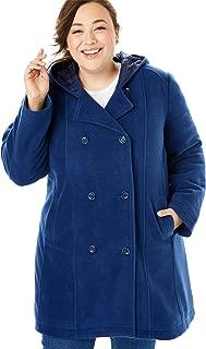 Women's Plus Size Double-Breasted Hooded Fleece Peacoat
