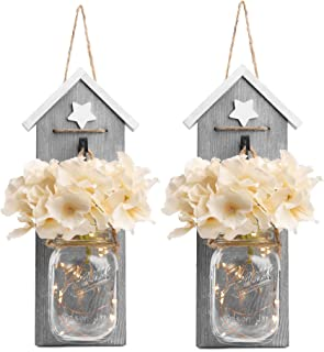BeSuerte Sconces Wall Art Decor 2019 Hanging Mason Jar Decor  for Home Decor, Office,Farmhouse, Kitchen, Bedroom with Flowers & LED Lights(Set of 2), Grey