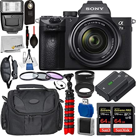 $2199 » Sony Alpha a7 III Mirrorless Digital Camera with 28-70mm Lens with Deluxe Accessory Bundle - Includes: 2X SanDisk Extreme PRO 64GB Memory Card, Replacement Battery for Sony NP-FZ100, Much More