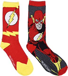 The Flash Men's Casual Crew Sock Set Pack of 2 (Shoe Size 6-10, Red)