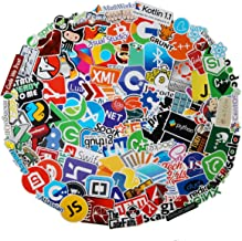 108 Pcs Hackers IT Logo Waterproof Stickers - Programming Language Series Stickers for Luggage Skateboard Laptop Luggage Suitcase Book Covers etc (Software Logo)