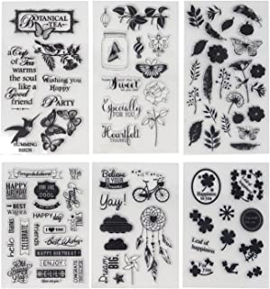 Honbay 6 Sheets Different Theme Friendly Phrases Pretty Patterns Silicone Clear Stamps for Card Making Decoration and Scra...