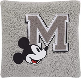 Disney Mouse Plush Decorative Sherpa Pillow with M Applique, Grey/Black/White/Red, Mickey