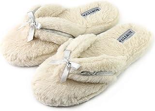 KOMYUFA Winter Women Warm Soft Flip Flop House Slipper Indoor and Outdoor(Beige)