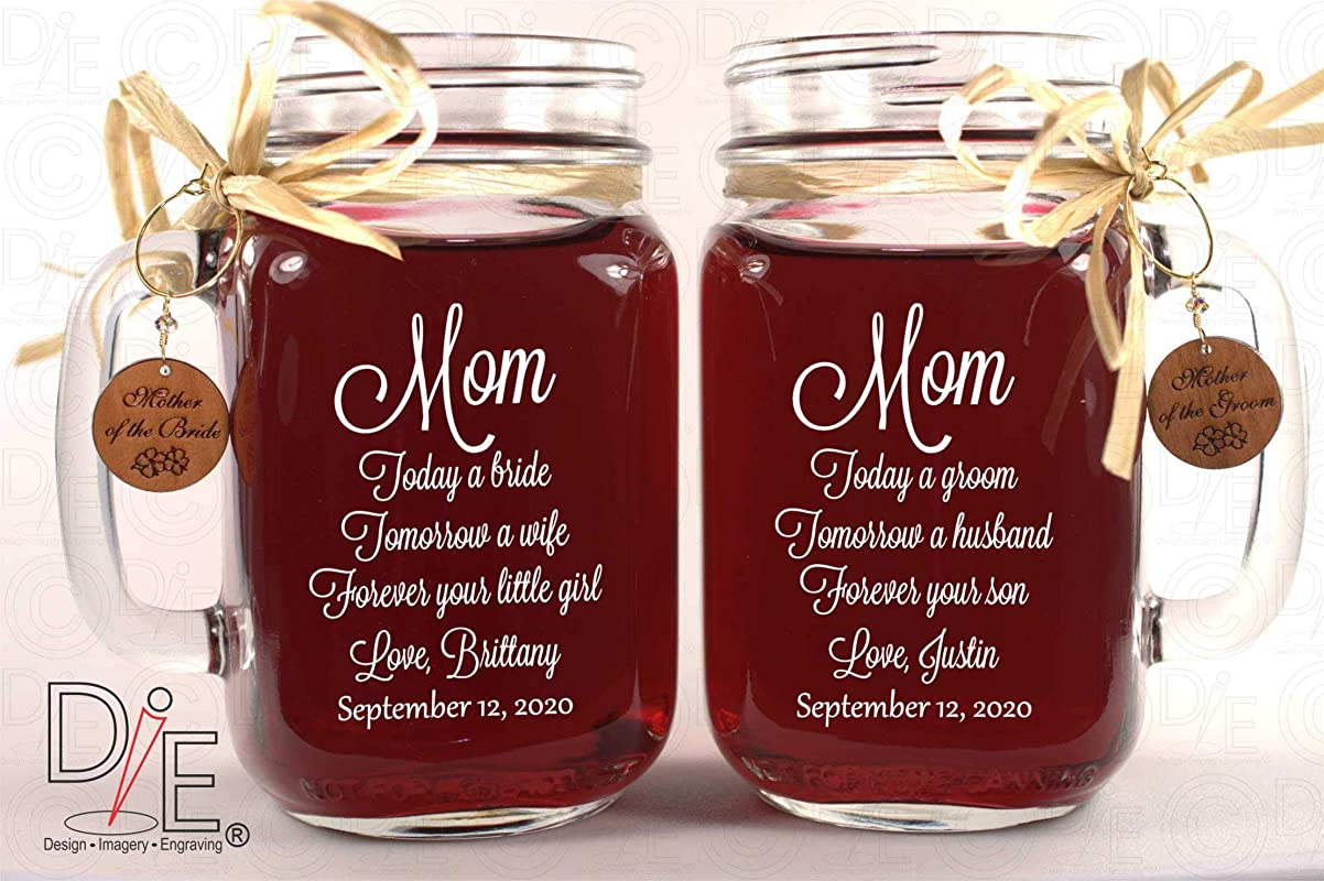 Mom Wedding Gift Mason Jars Mother Of The Groom Gift Mother Of The Bride Gift Personalized Engraved Wedding Favors Mason Jars