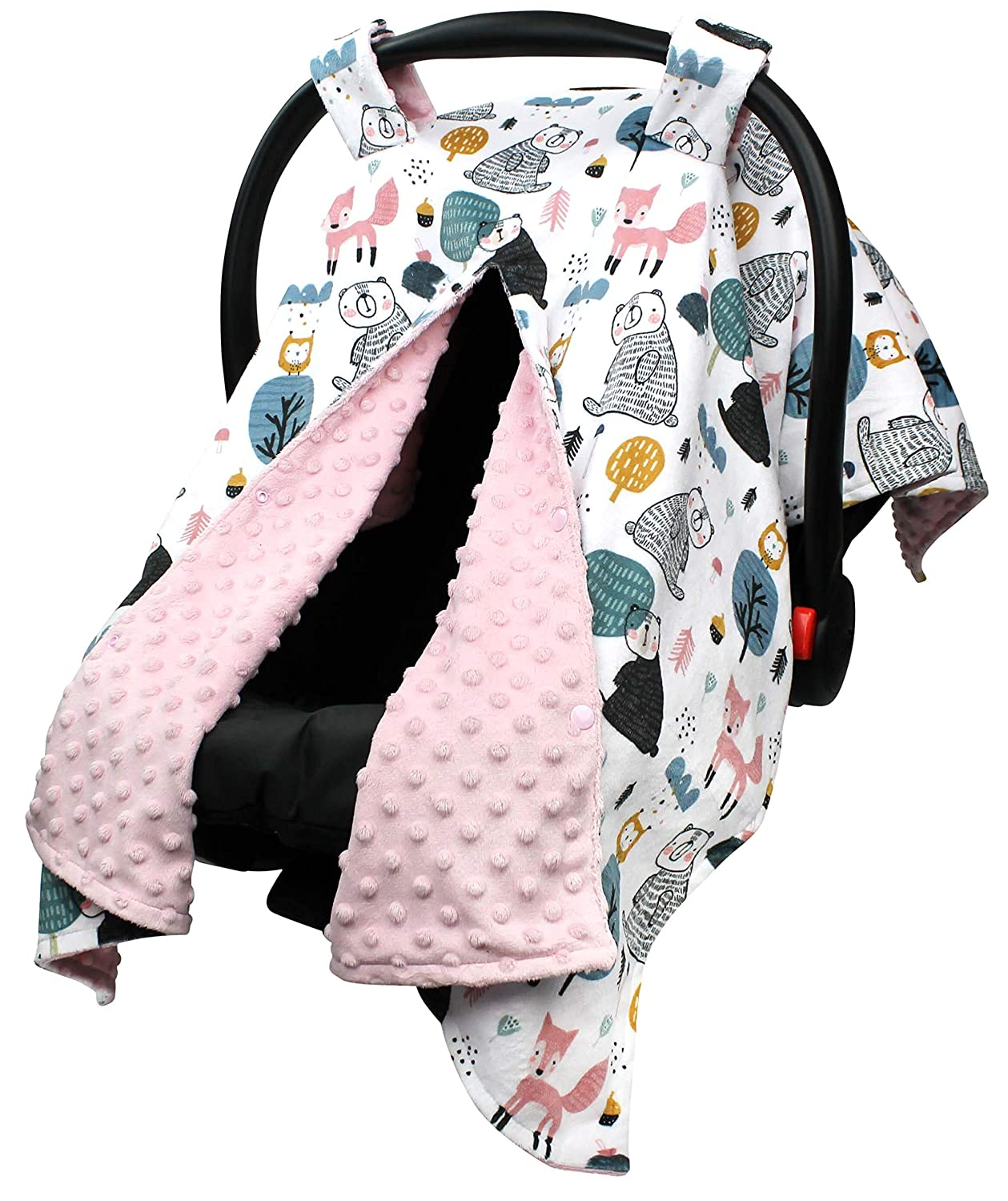 Baby Car Seat Canopy Los Angeles Mall Cover - Lazy Pale Mi Bear Pink Gorgeous with Fox and