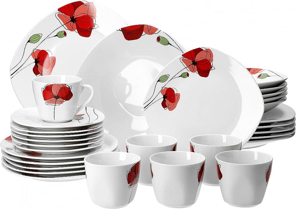 Van well monika, servizio di piatti per 12 persone , in porcellana , set da 60 pezzi