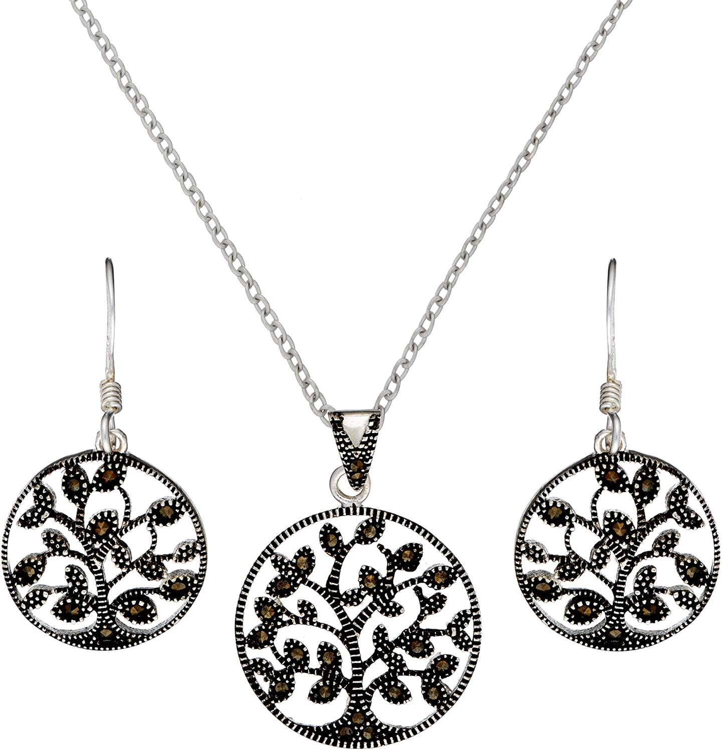 Online limited product Silverly Women's .925 Sterling Silver o Max 59% OFF Tree Marcasite Simulated