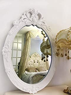 Basswood Hunters Oval Vintage Decorative Wall Mirror, White Wooden Crown Frame, Antique Princess Decor for Bedroom,Playroom,Dressers,Living Room, 23''x 15''