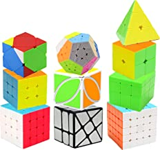 H XD global Speed Cube Set 2x2 3x3 Pyramid Magic Cube, Megaminx Cube, Super-Durable with Vivid Colors, Intelligence Puzzle Toy(10 Pack)