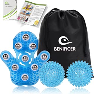 Benificer Spiky Massage Ball for Trigger Point Myofascial Release & Massage Glove, Handheld Body Massage Tool for Beauty Body Care, Deep Tissue Stress Relief and Cellulite Reduction