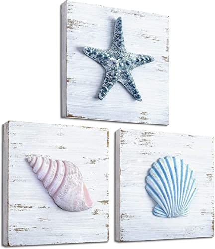 TideAndTales Beach Theme Seashell Wall Decor (Set of 3) | Shells and Starfish Beach Decor for Bathroom, Bedroom or Li...