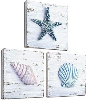 TideAndTales Beach Theme Seashell Wall Decor (Set of 3)   Shells and Starfish Beach Decor for Bathroom, Bedroom or Living ...